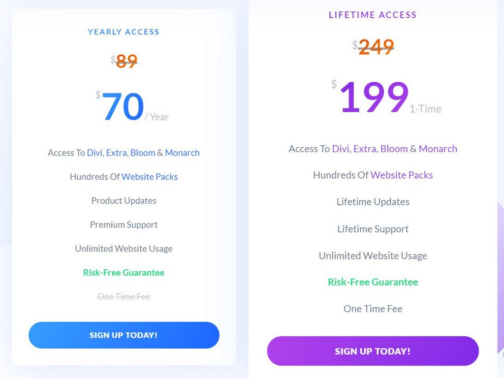 divi vs elementor pricing 2020
