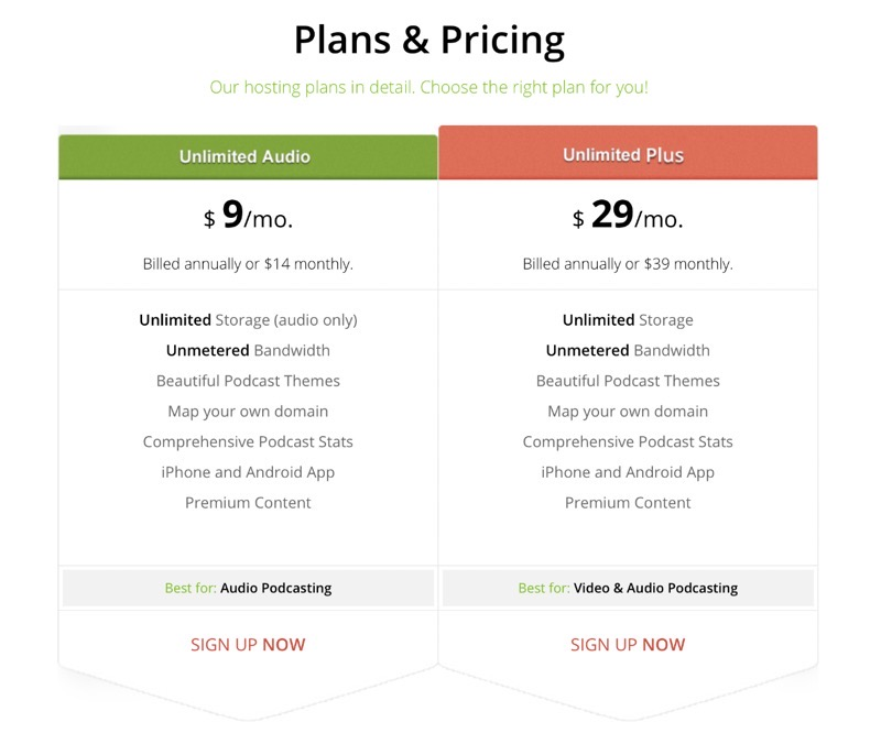 Podbean podcast hosting pricing