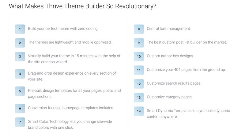 Thrive theme builder features