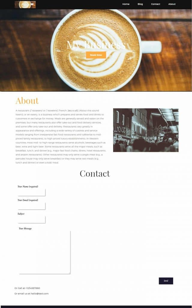 how to build a cafe website without coding