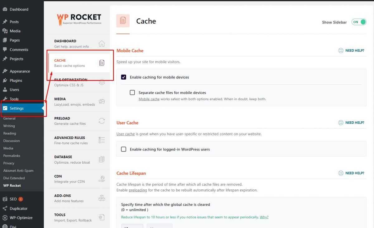 wp rocket cache options