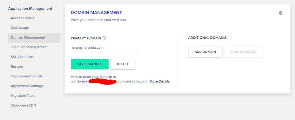 cloudways hosting domain management