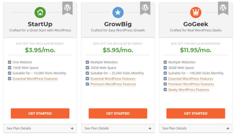HostGator vs siteground pricing