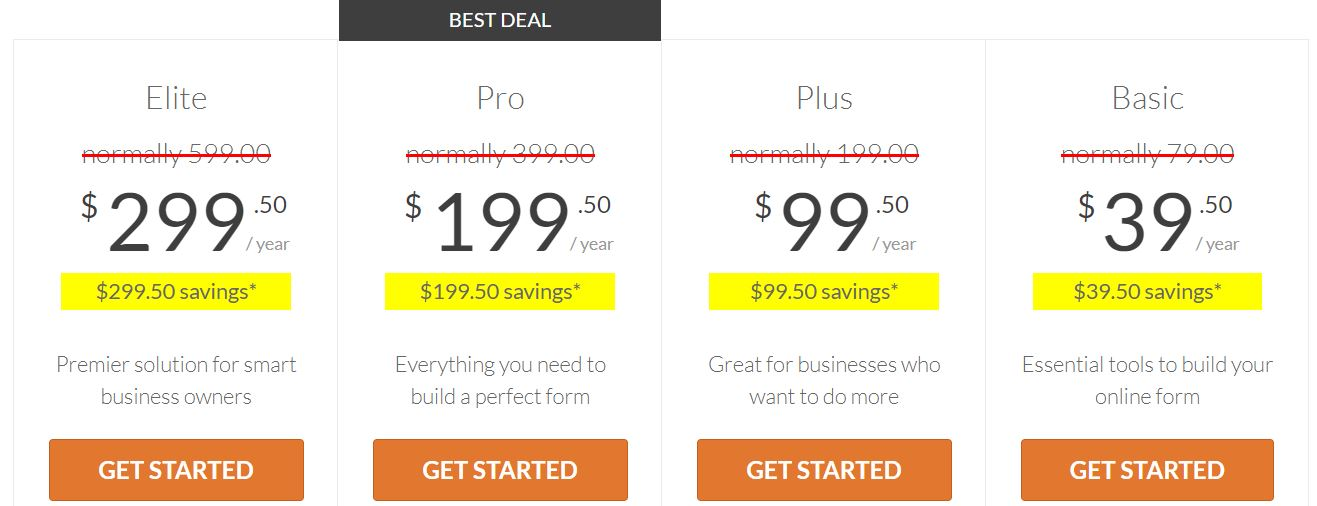 typeform alternatives pricing