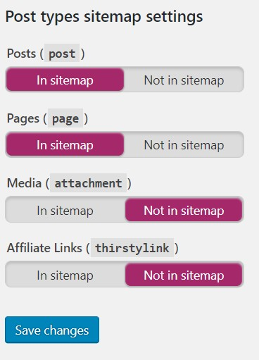 yoast seo wordpress sitemap settings