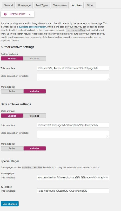 yoast seo wordpress archives settings