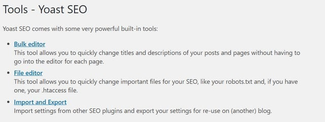 yoast seo wordpress file editor settings