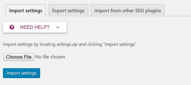 yoast seo wordpress export settings